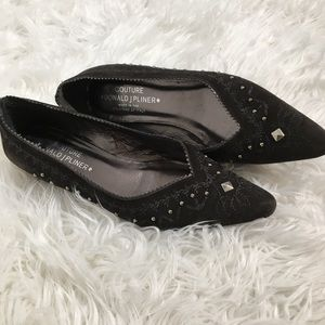 Donald J Pliner Couture suede studded flats