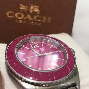 RARE Coach Pink & Silver Boyfriend Watch