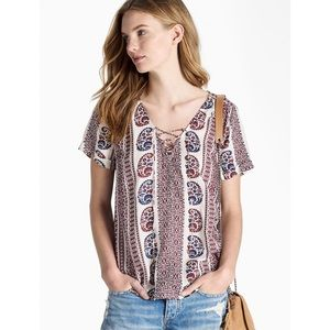NWT Lucky Brand Printed Peasant Top Lace Up