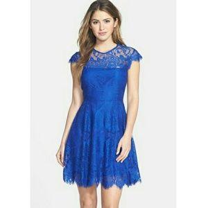 Bb Dakota Royal Blue Lace Rhianna Flare Dress