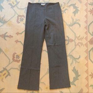 Gray flat front slacks with center stripe