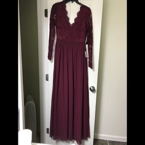 Lulus:Burgundy Long Sleeve Lace Maxi Dress