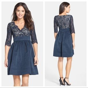 Eliza J sz 12P Navy Lace Faille Fit Flare Dress