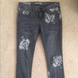 Free people printed rose jean in black