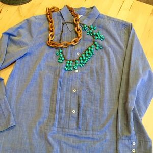 J. Crew chambray tunic with tuxedo-bib details