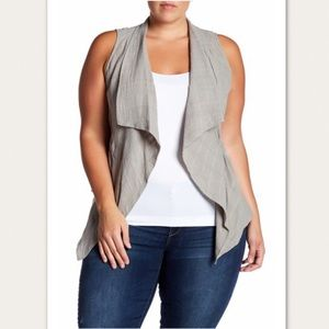 NWT Democracy Textured Slash Pockets Vest Plus Sz