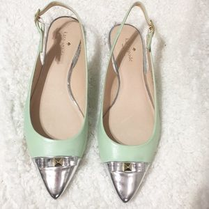 Kate Spade Mint Slingback Flats with Silver Toe
