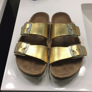 Gold softfooted Birkenstock