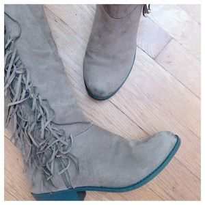 Taupe Suede Fringe Boots