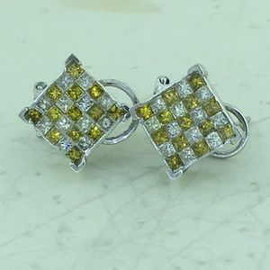 Unisex Yellow & White Princess Cut Diamond Earring