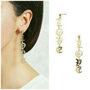 NIP F21 Goldtone LOVE Letter Drop Earrings