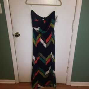 BRAND NEW Trixxi Multicolored strapless Maxi Dress