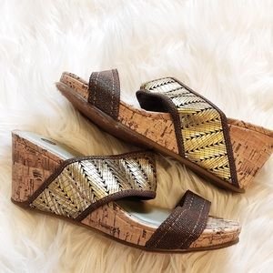 Brown and Gold wedges - Size 6.5