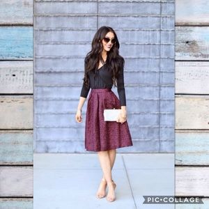NWT ASTR Textured Full Midi Skirt Dark Wine Maroon