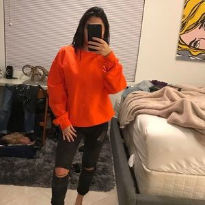 Orange pullover sweater