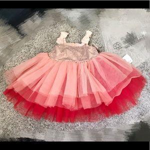 NWT tutu couture fuchsia bow party glitter dress