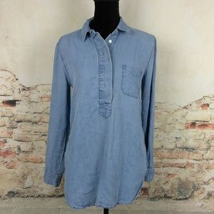 Ann Taylor Loft S Softened Shirt Linen Chambray