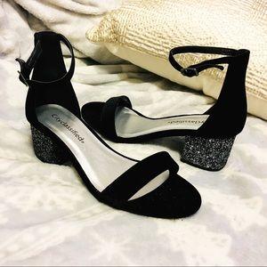 Velvet Glitter Heels (never worn)