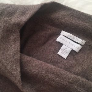 Thick cashmere boat neck sweater- charcoal brown