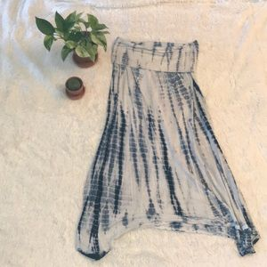 Blue and white tie dye midi skirt