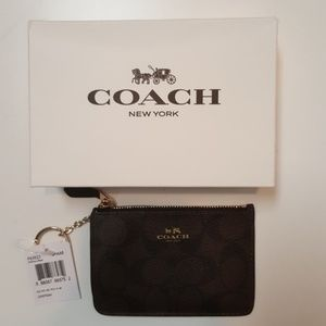 Coach Signature PVC Key Pouch NWT