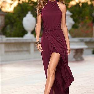 Venus burgundy high low, high neck dress.