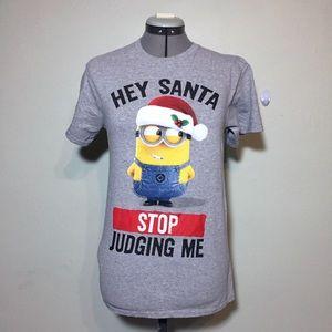 Minion Hey Santa Stop Judging Me T-Shirt T Tee S