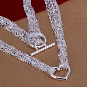 Sterling Silver Heart Necklace NEW
