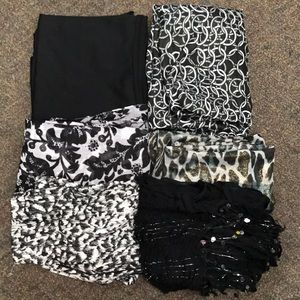 Bundle of Six Black Scarves