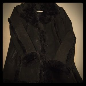 Wilson leather suede and fur coat