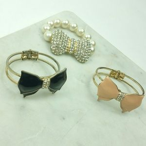 Bracelet lot of 3 bow black pink gold