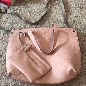 Reversible beige and light pink purse