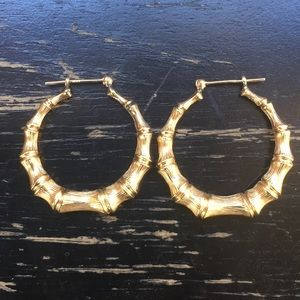 14K Solid Gold Bamboo DesignLarge Hoop Earrings