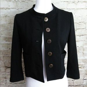 Anthro Cartonnier Black Knit Cropped Blazer S