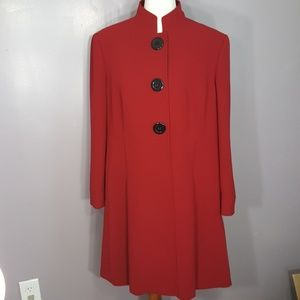 Tahari by Arthur S Levine long red coat 16w