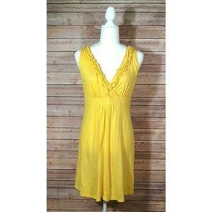 LOFT yellow v-neck ruffle empire waist dress