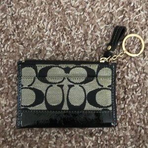 Coach Black Monogrammed Patent Leather Card Holder