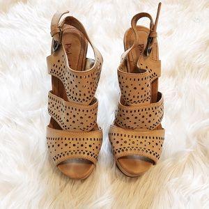 Beige Chunky Heels - Size 6.5