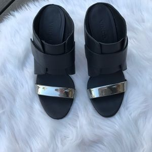 Vince Leather Wedge Mules SZ 7.5