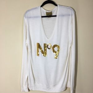 Wildfox No. 9 sweater white label gold sequins Med