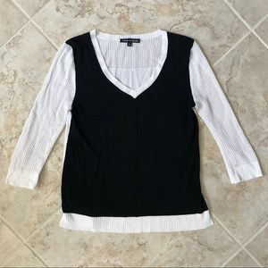 Cable & Gauge Sweater Black/White 3/4 Viscose
