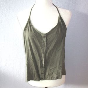 Brandy Melville halter top low back button top