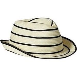 Navy striped fedora hat!