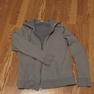 J. CREW gray/ tan Sherpa lined zip up hoodie