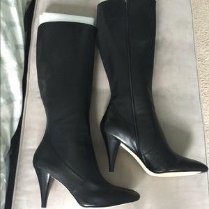 NWOB Via Spiga Sz 12 Black Leather Boots Knee high