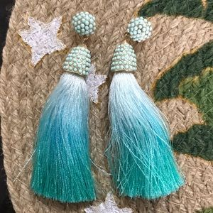BaubleBar Teal Ombré Tassel Earrings