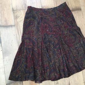 RALPH LAUREN SILK PAISLEY SKIRT 14W PLUS SIZE