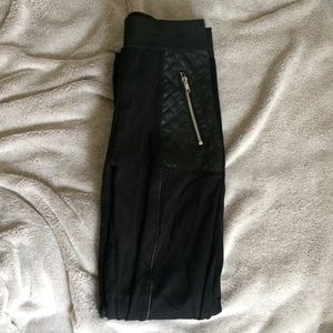 H&M Black Leggings with Faux Leather Designs
