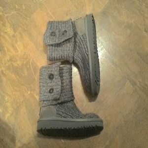 "Girls Gray  ""UGG"" Sweater Boots"