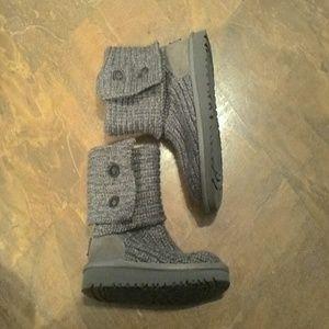 "Girls Gray  ""UGG"" Sweater Boots"
